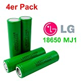4X LG INR18650-MJ1 Akku 3500mAh 3,7v Lithium-Ionen...