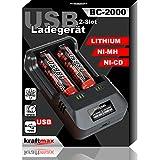 kraftmax BC-2000 USB Akku Ladegerät für 18650 |...