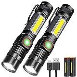 Karrong LED Taschenlampe Magnet Zoom USB Aufladbar...